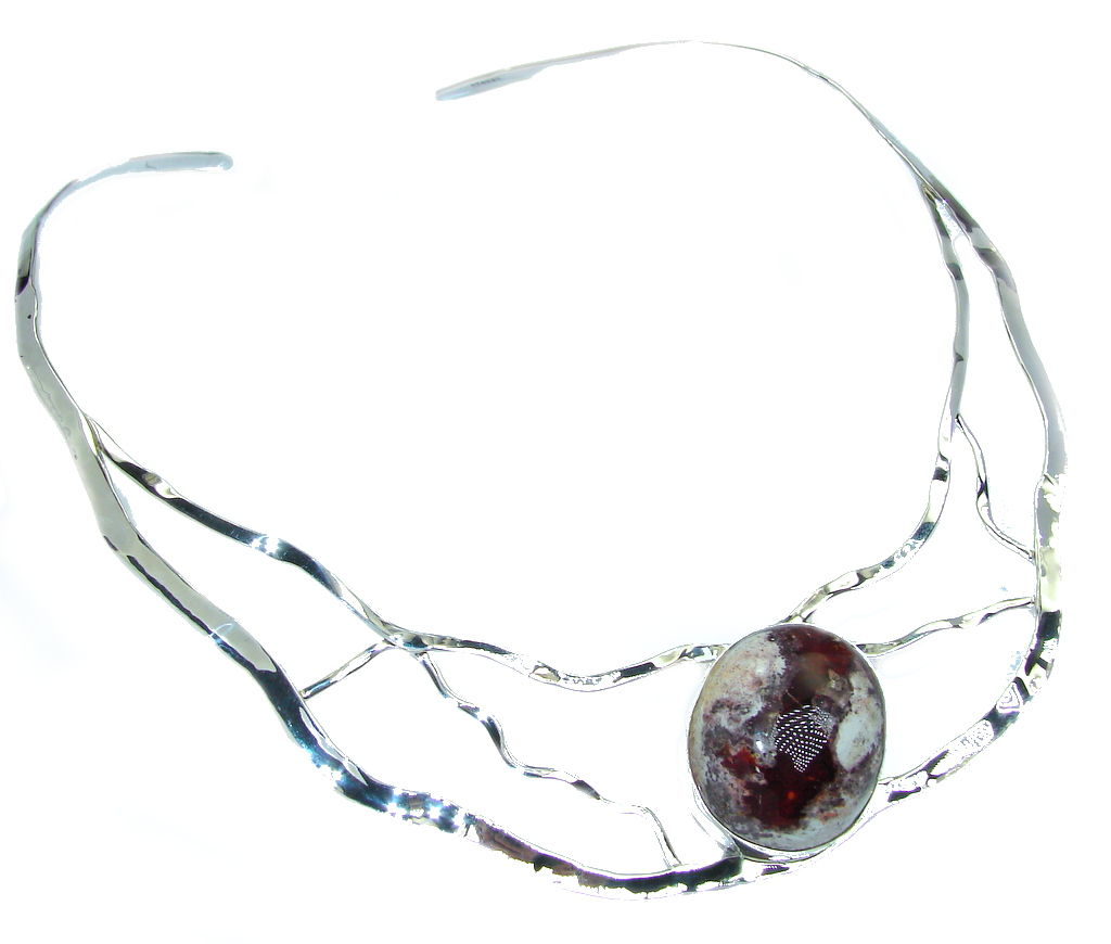 Natural Mexican Fire Opal Hammered Sterling Silver necklace by SilverRush Style by