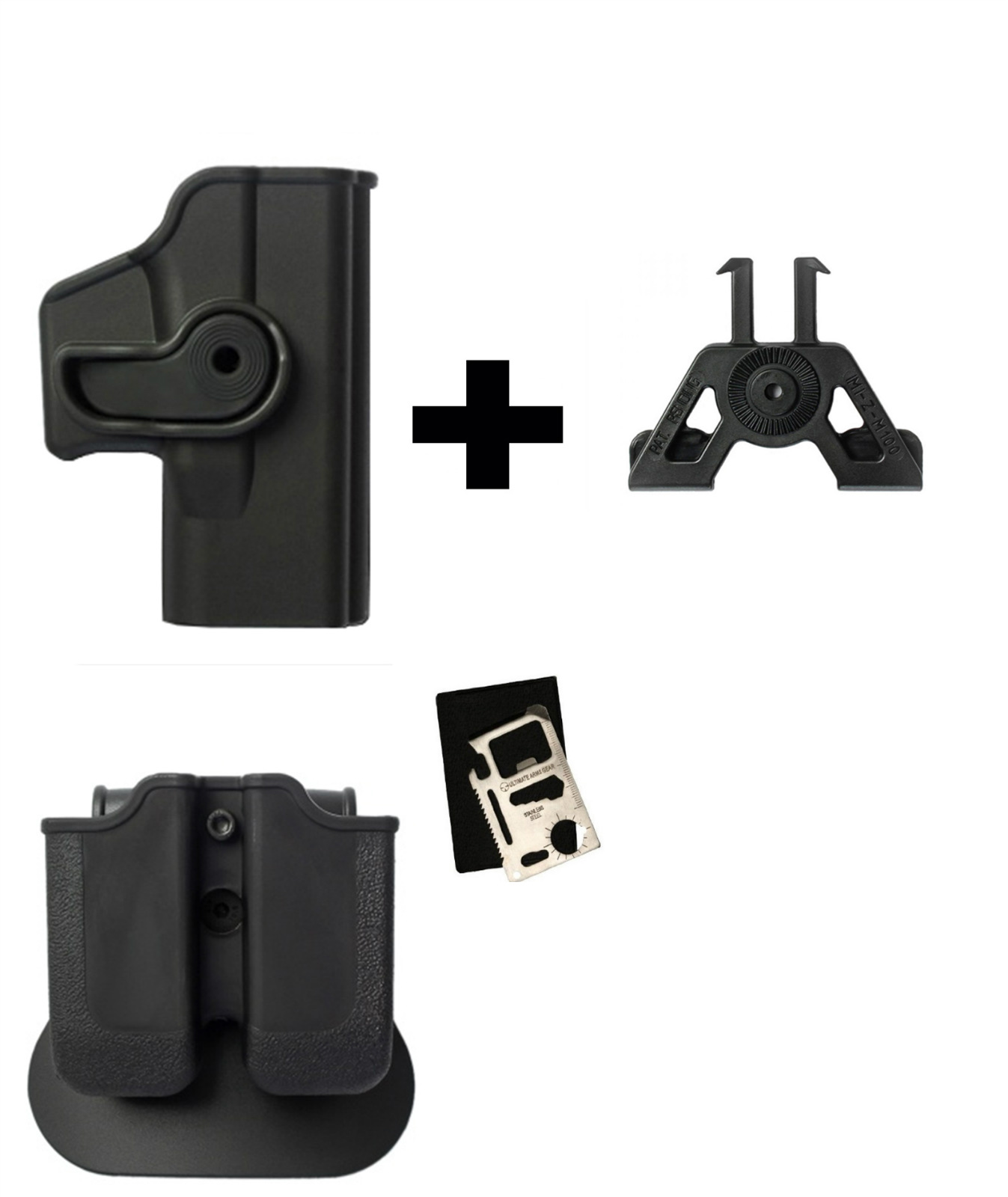 IMI Defense Z2000 MP00 Double Mag Holder & Paddle + Z1040 360� Rotate Holster Glock 23 26 27 28 33 36 Gen 4, Black +... by