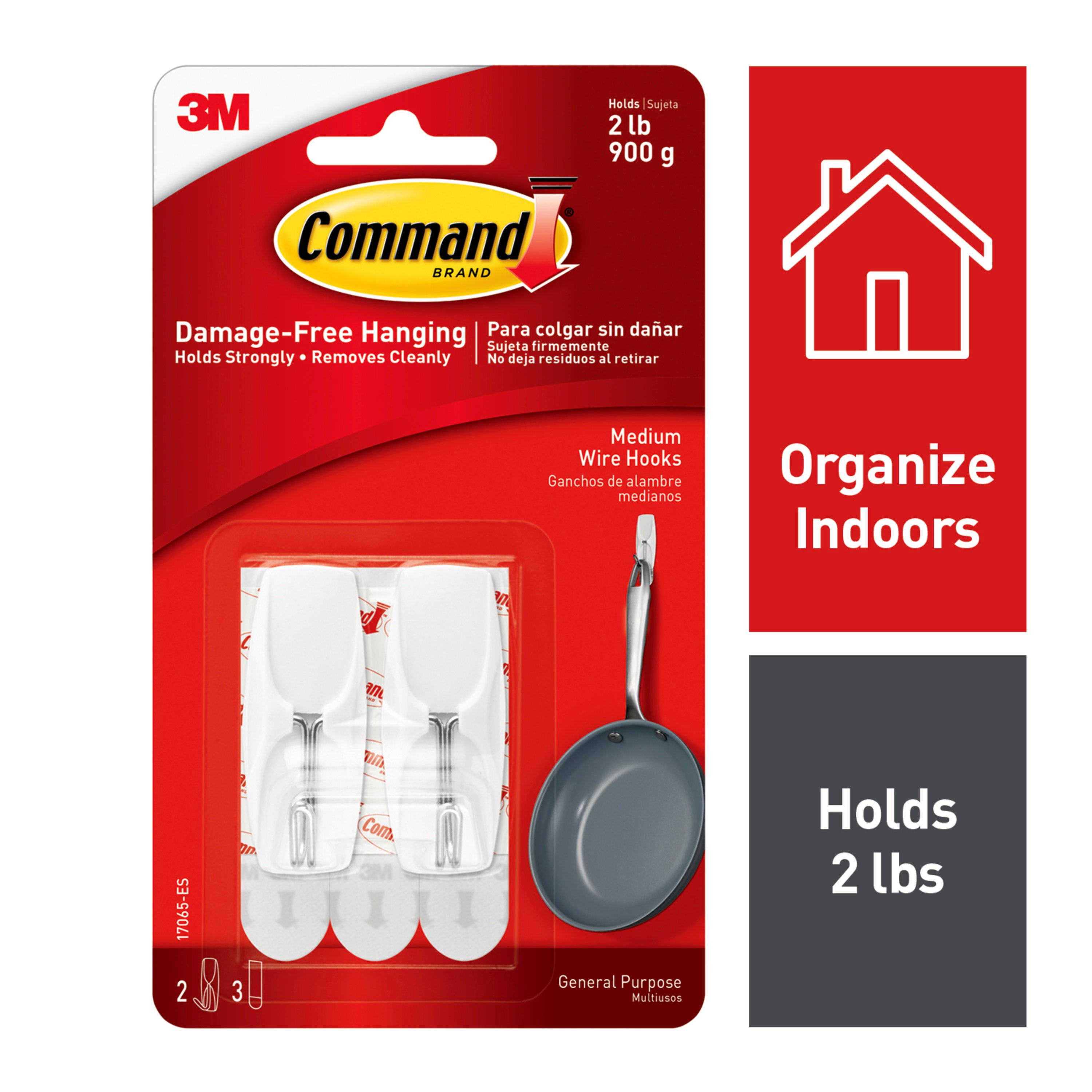 Command Wire Hook, White, Medium, 2 Hooks, 3 Strips/Pack
