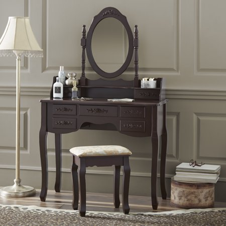 - Fineboard Vanity Set with Stool & Mirror Makeup Table with 7 Organization Drawers Single Oval Mirror Make Up Vanity Table Set, Brown