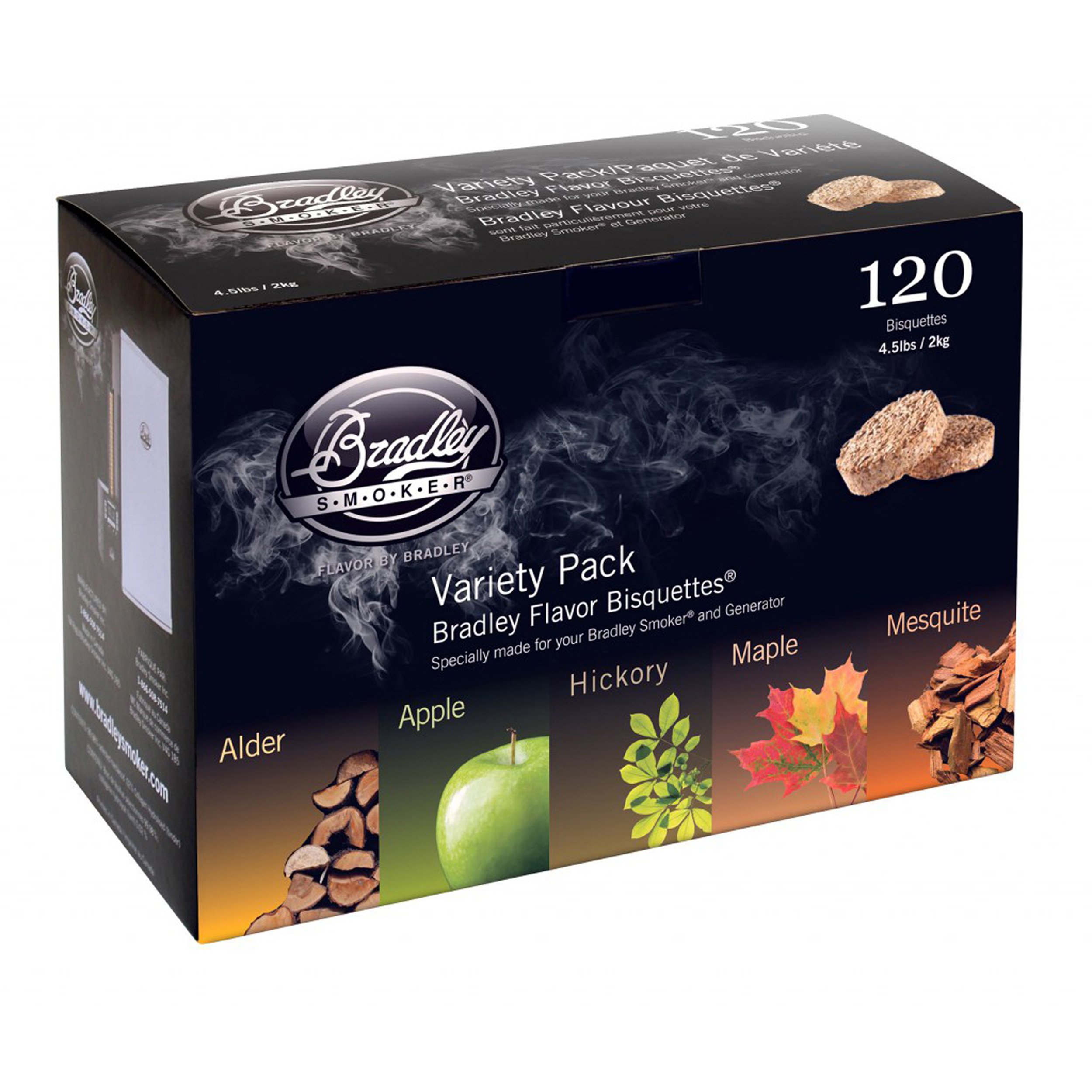 Bradley Smokers Smoker Bisquettes 5 Flavor Variety (120 Pack)