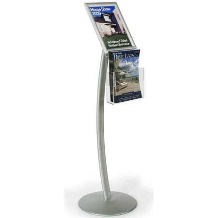 Sign Stand with Aluminum Snap Open Picture Frame and Clear Acrylic Brochure Holder for 8.5x11 Magazine, Free Standing Poster Display Holder - Aluminum and Steel, Silver (CMB8511NGW)