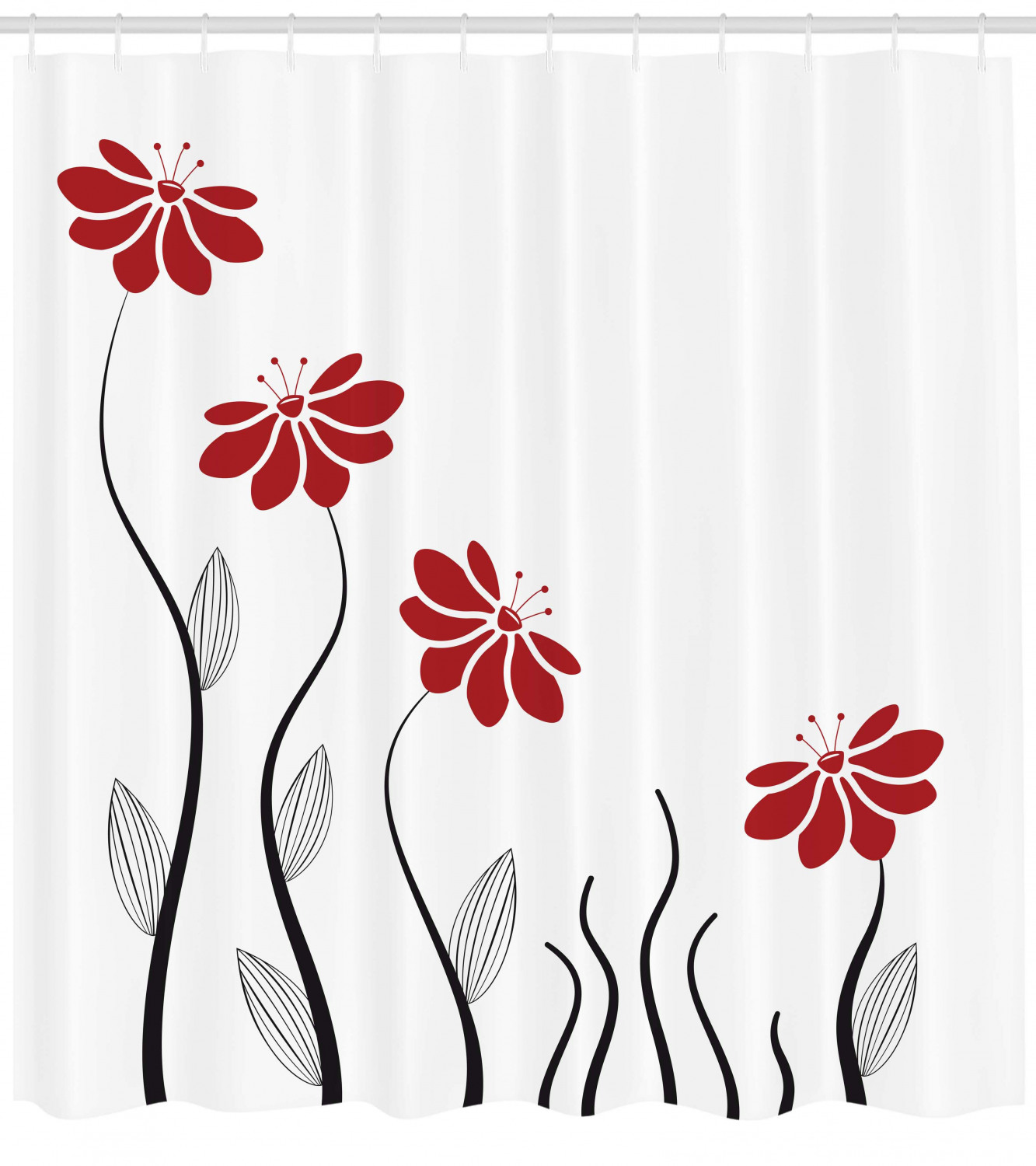 Flower Shower Curtain Floral Petals With Striped Leaves And Lines