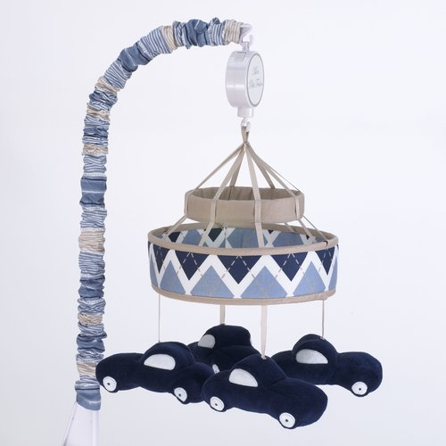 Blue and Beige Plush Cars Fabric Covered Musical Crib Mobile