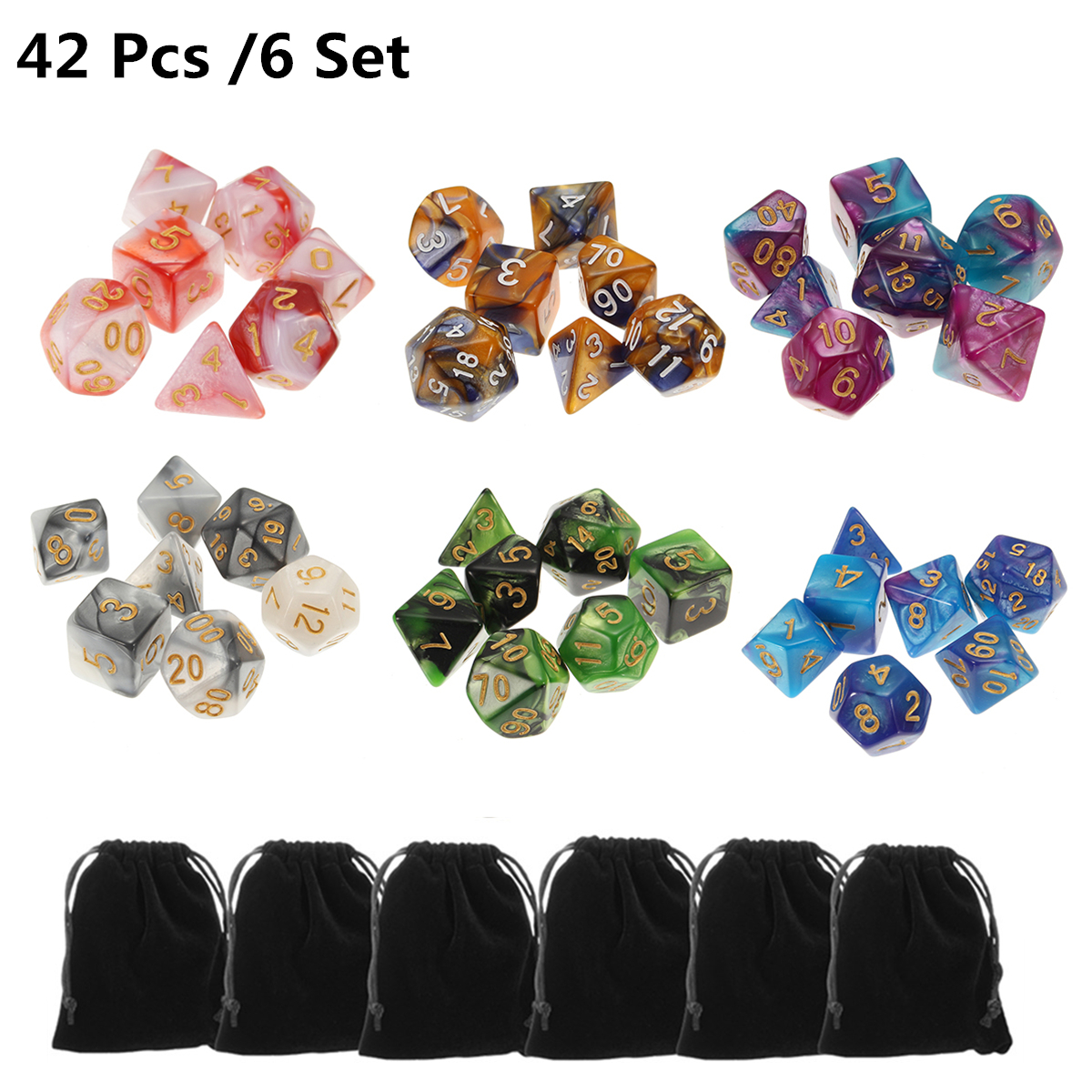 42 Polyhedral Dice | 6 Sets of Dice for Dungeons & Dragons, Pathfinder, and a wide variety of tabletop games and RPG's.