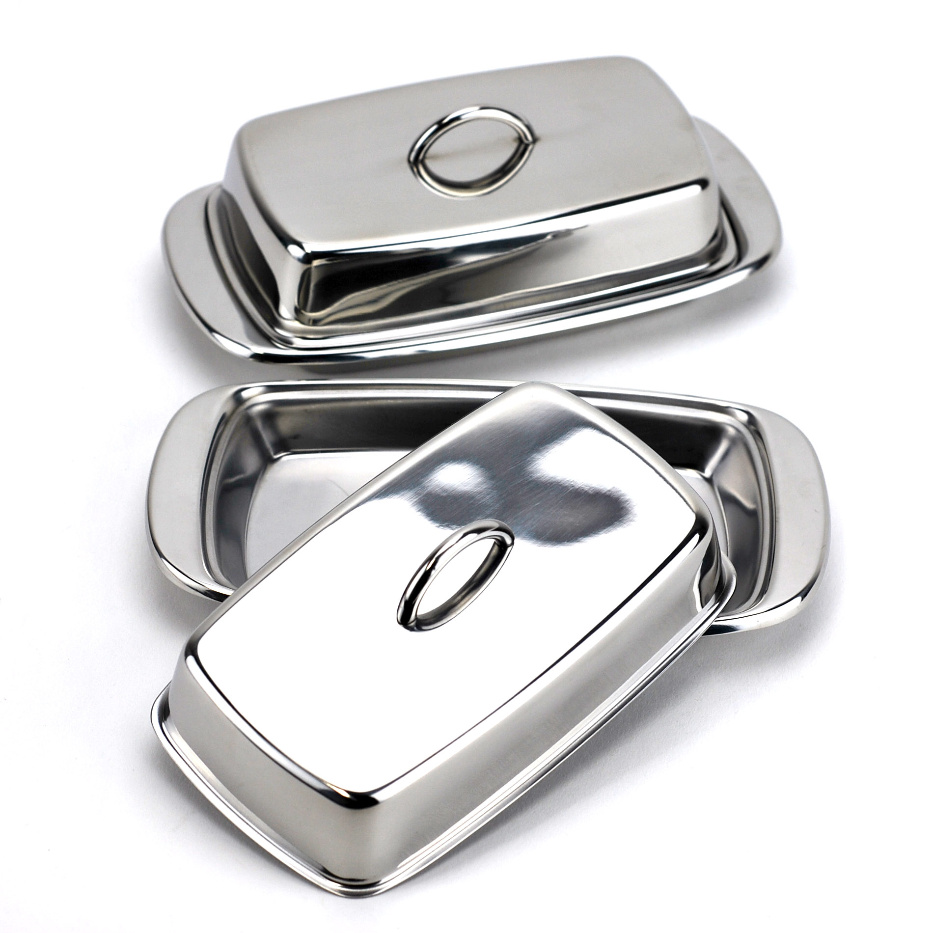 Covered butter dish with handle, French stainless steel butter dish (Pack of 2)