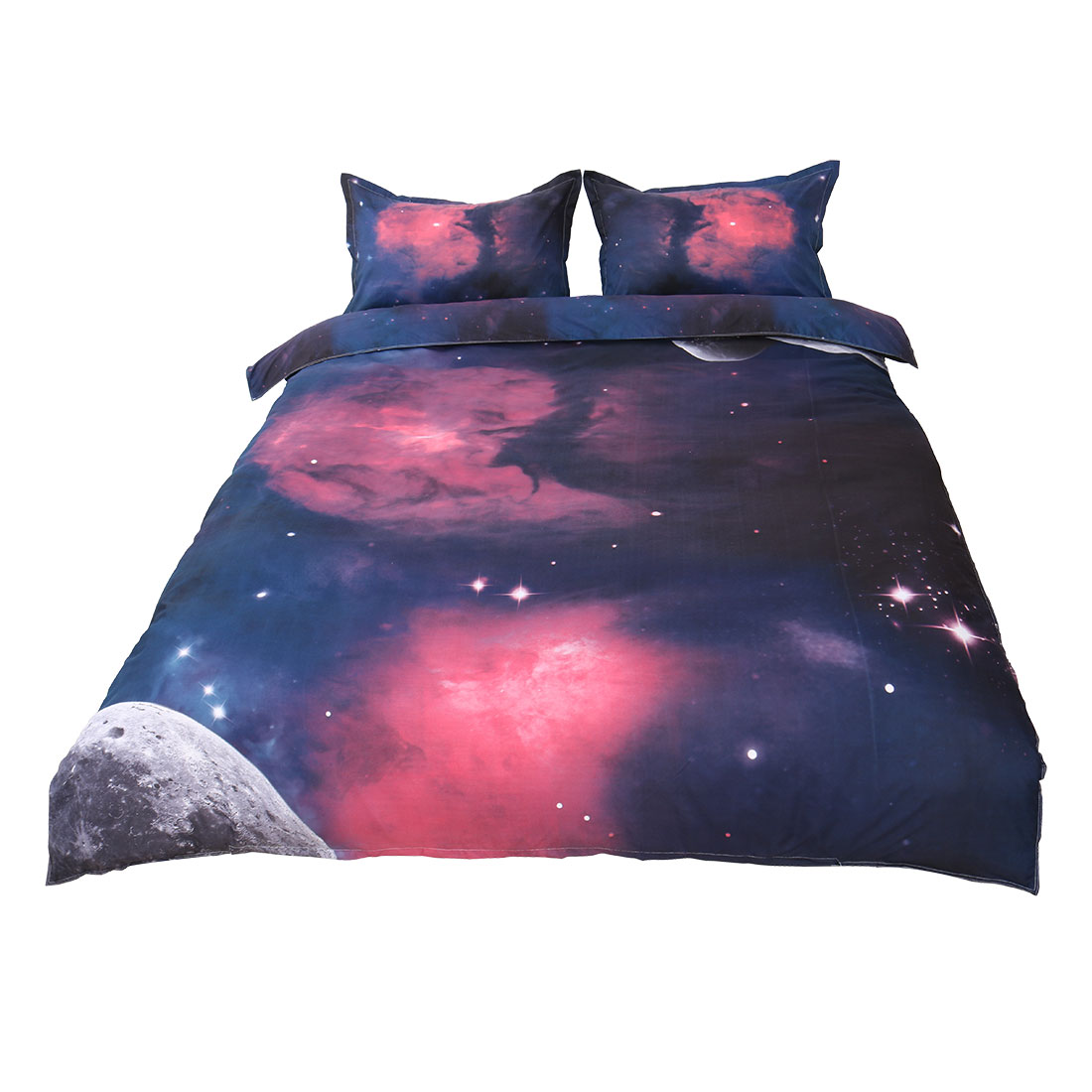 Unique Bargains Galaxy Sky Cosmos Night Pattern Queen Size Bedding Quilt Duvet Set Fuchsia