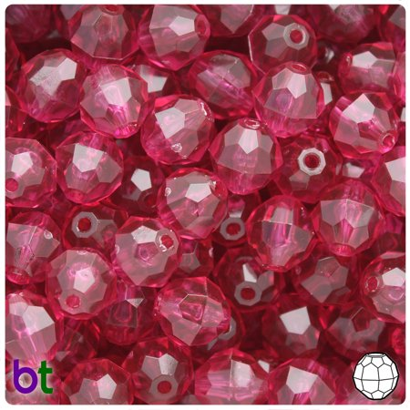 BeadTin Fuchsia Transparent 12mm Faceted Round Plastic Beads (150pcs)