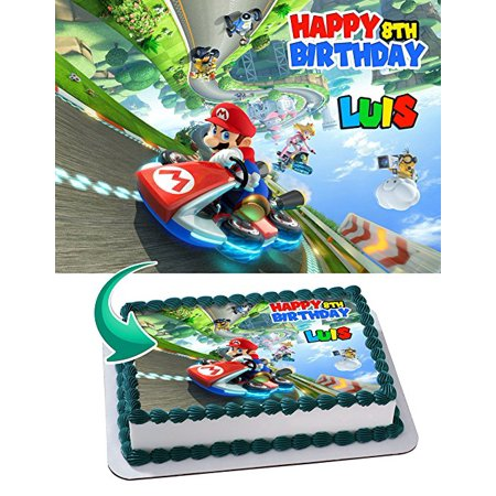 Mario Kart 8 Deluxe Edible Cake Topper Personalized Birthday 1/2 Size Sheet Decoration Party Birthday Sugar Frosting Transfer Fondant - Mario Cake Topper