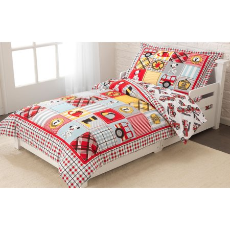 KidKraft Fire Truck Toddler Bedding