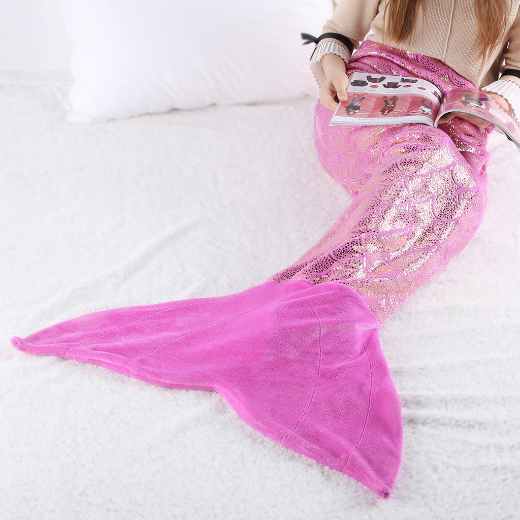 Mermaid Tail Blanket Crochet Mermaid Blanket for Adult And Children, Soft All Seasons Sleeping Blankets, Classic Pattern