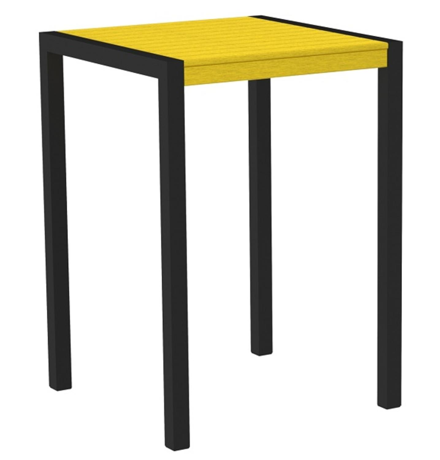 "42"" Recycled Earth-Friendly Outdoor Bar Table - Lemon Yellow with Black Frame"