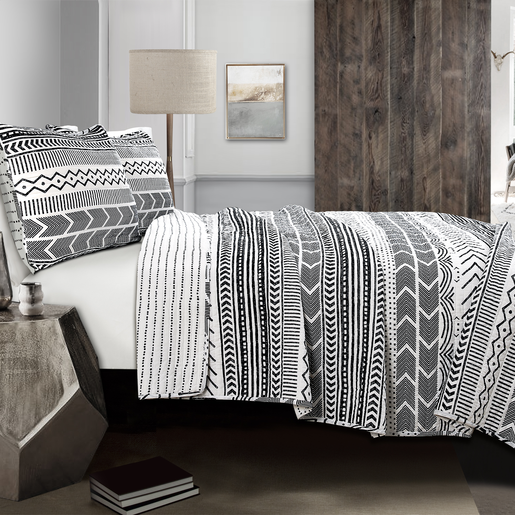 Hygge Geo Quilt Black/White 3Pc Set Full/ Queen