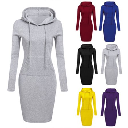 Fashion Sweatshirt Dresses for Women Pocket Hooded Casual Dress Mini Dress (Yellow Dress Up Ideas)