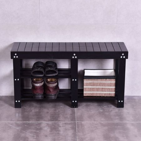 Wooden Shoe Bench Boot Storage Shelf Organizer Seat Entryway Hallway (Boot Bench)