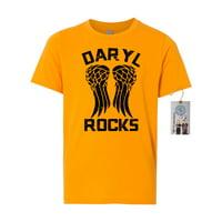 The Walking Dead Darl Rocks Wings Youth Short Sleeve Shirt