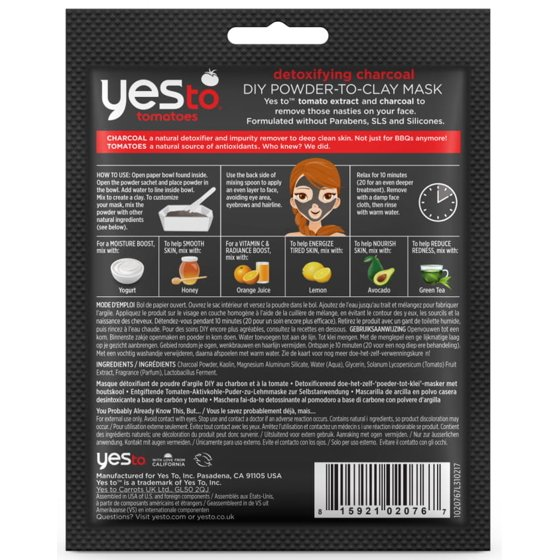 Yes To Tomatoes Detoxifying Charcoal DIY Mask Single Use Charcoal Face Mask  0 17 Oz