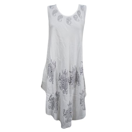 7d32bcc6ff9 Mogul Interior - Mogul Womens Hippie Dress Elephant Print Sleeveless White  Beach Tank Dress M - Walmart.com