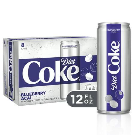 (3 Pack) Diet Coke Blueberry Acai Soda Slim Can, 12 Fl Oz, 8
