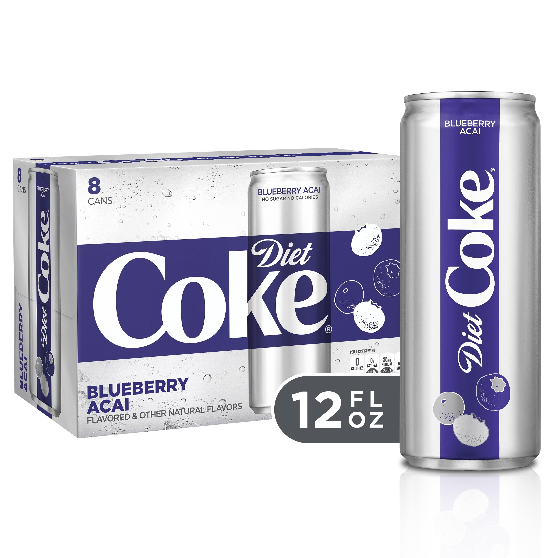 (3 Pack) Diet Coke Blueberry Acai Soda Slim Can, 12 Fl Oz, 8 Count