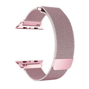 Apple Watch Band 44mm Series 5/4 Pink Stainless Steel Mesh Milanese Loop with Clear Hard Case Screen Protector