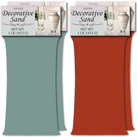HeroFiber Colored Unity Sand (4 lbs.) - Aqua and Coral - 2 lbs. per Color - Decorative Art Sand for Weddings, Vase Filling, Kids' Craft Play - Coral Sand