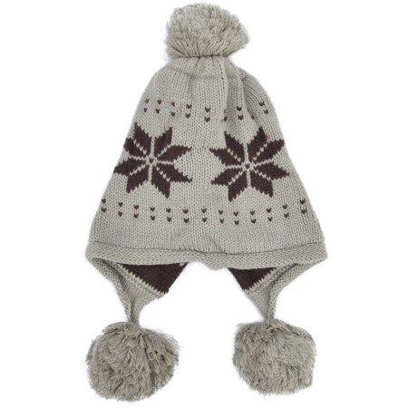 Winter Ski Knit Snowflake Cable Earflap Women Beanie Hat with Pom, Khaki