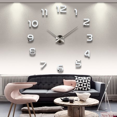 New Diy Acrylic Mirror Home Decoration Large Wall Clock Watch Quartz Living Room Modern Design