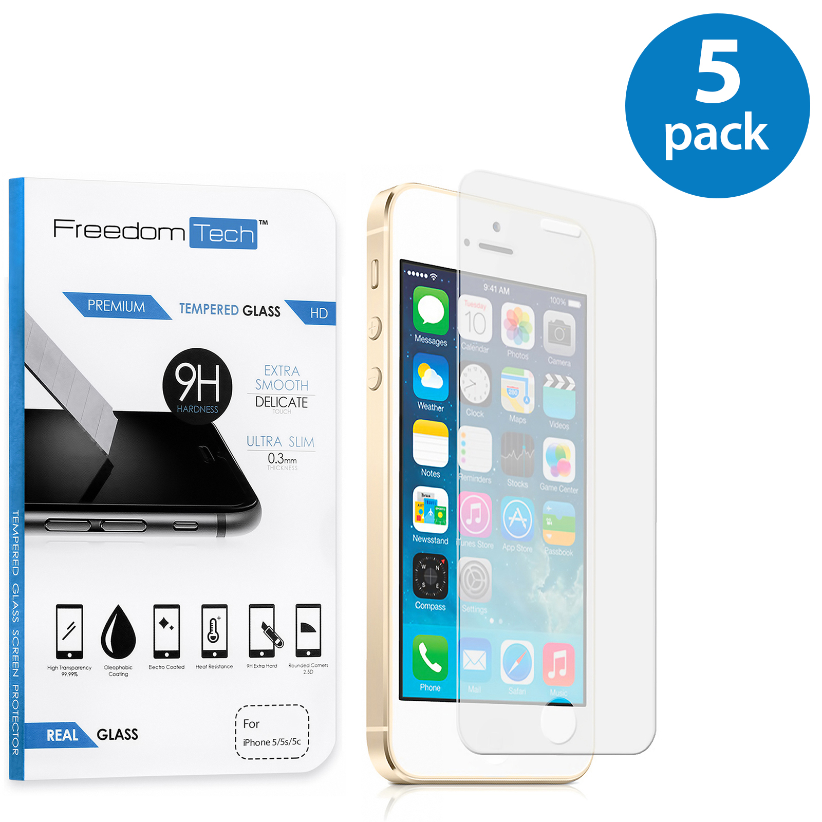 5x Freedomtech iPhone 5S Screen Protector Real Tempered Glass Film LCD Guard