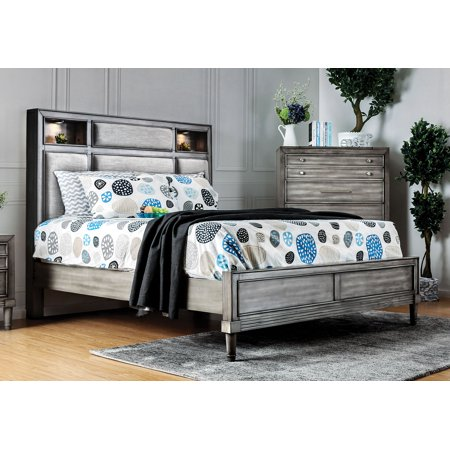 Furniture of America Ayana Transitional Gray Bed Frame, Multiple Sizes - Size Of America