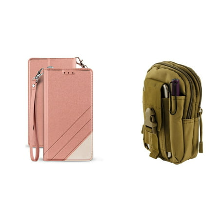 BC Synthetic PU Leather Magnetic Flip Cover Wallet Case (Rose Pink) with Khaki Tactical EDC MOLLE Waist Pouch and Atom Cloth for Samsung Galaxy Express Prime 3 (J337A) AT&T