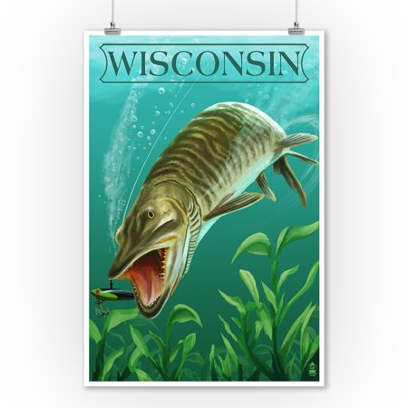 Wisconsin - Muskie - Lantern Press Artwork (9x12 Art Print, Wall Decor Travel