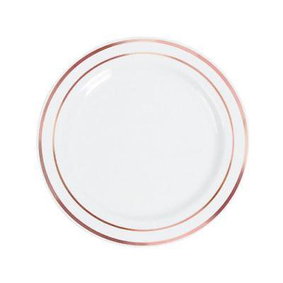White Premium Plastic Dinner Plates with Rose Gold Edging By Fun Express - White Plastic Dinner Plates
