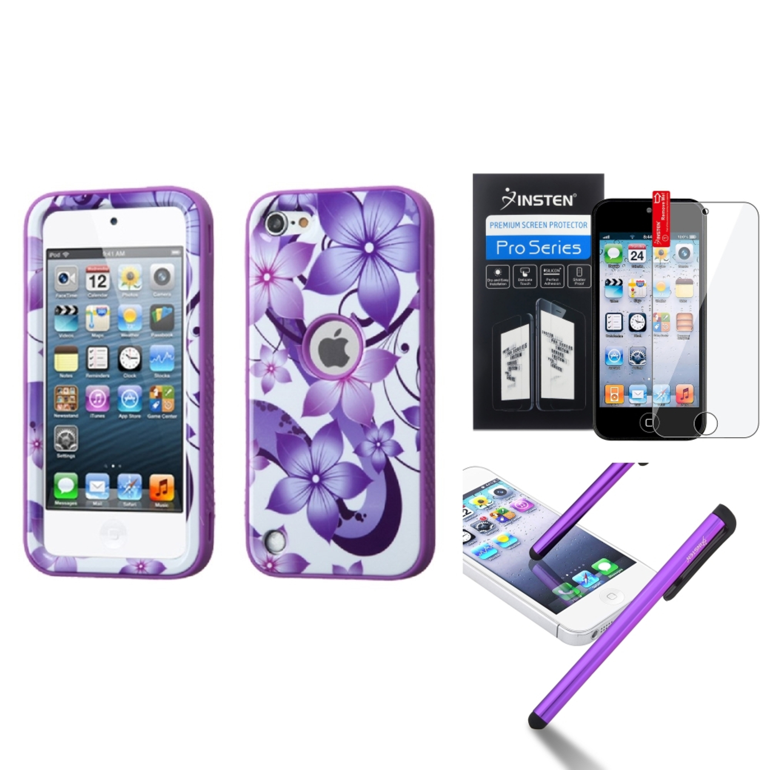 Insten For iPod Touch 6th 6G 6 5th 5G 5 Verge Hybrid Case Grip+Pen+Protector Purple Hibiscus Flower/Purple