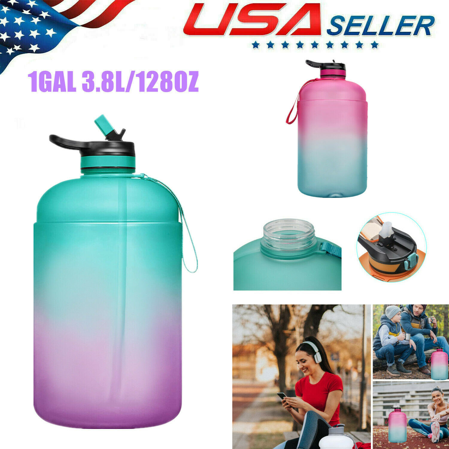 BPA Free Large Water Bottle green lid Details about  / 1 Gallon Water Bottle with Straw Lid