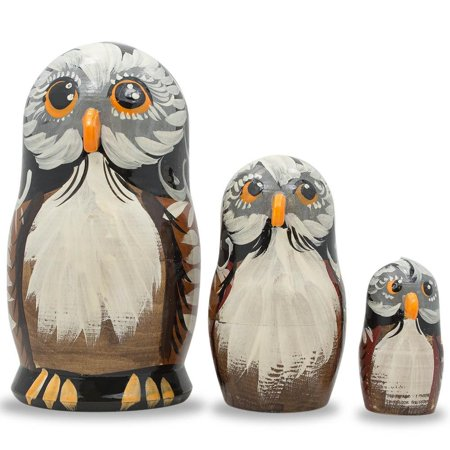 Dolly 5 Inch Chunky Heel - Set of 3 Owl Family Wooden Russian Nesting Dolls 5 Inches