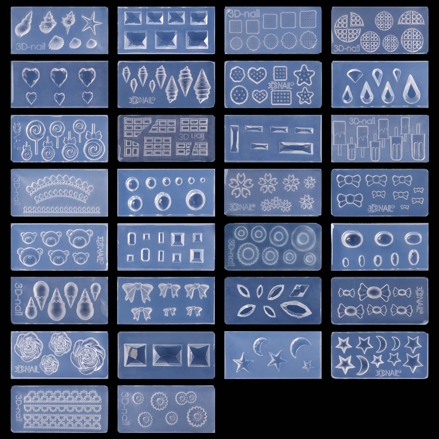 BMC 30pc DIY 3D Silicone Nail Art Decortive Acrylic Cabochon Design Mold - Set 7