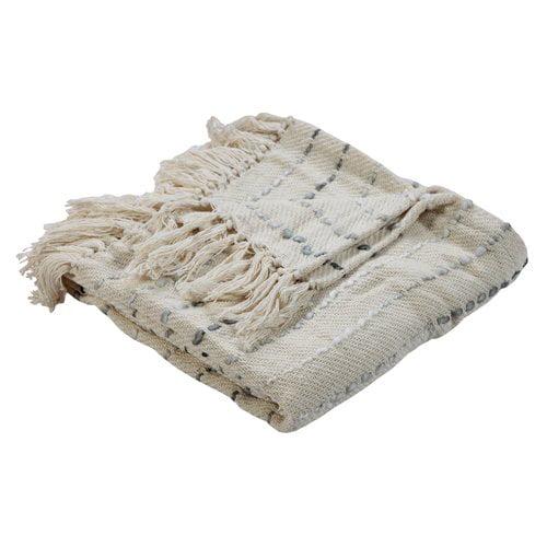 Gracie Oaks Weisner Grayscale Cotton Throw