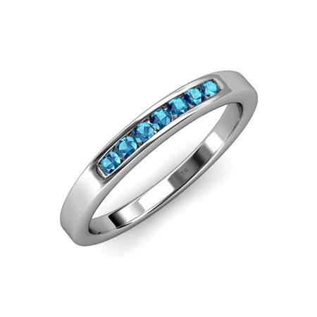 4bbcfb026 Trijewels - London Blue Topaz 7 Stone Channel Set Wedding Band 0.42 ct tw  in 14K White Gold.size 3.5 - Walmart.com