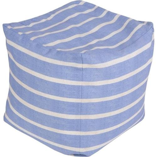 Surya 18 x 18 in. Outdoor Small Striped Cube Pouf