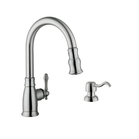 Traditional 1-Handle Pull-Down Kitchen Faucet with Dispenser in Brushed Nickel