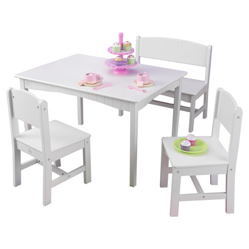 KidKraft Nantucket Table with Bench and 2 Chairs Pastel 26112