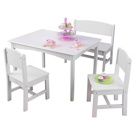 KidKraft Nantucket Table with Bench and 2 Chairs - Pastel - 26112 ...