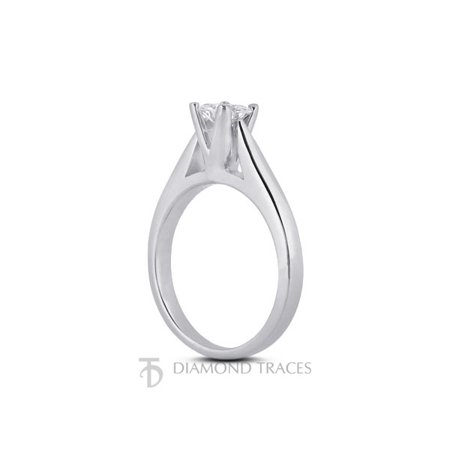 1.08ct H-SI2 Ideal Cut Princess AGI Genuine Diamond 950Plat Cathedral Ring 3.6mm