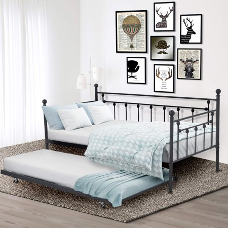 Black Slat Back Metal (Daybed Platform Metal Bed Frame Slats)