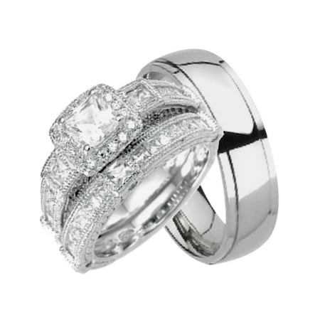 His and Hers Wedding Sets Silver Titanium 3 PCS Matching Band Rings Him Her (Sparkle Titanium Ring)