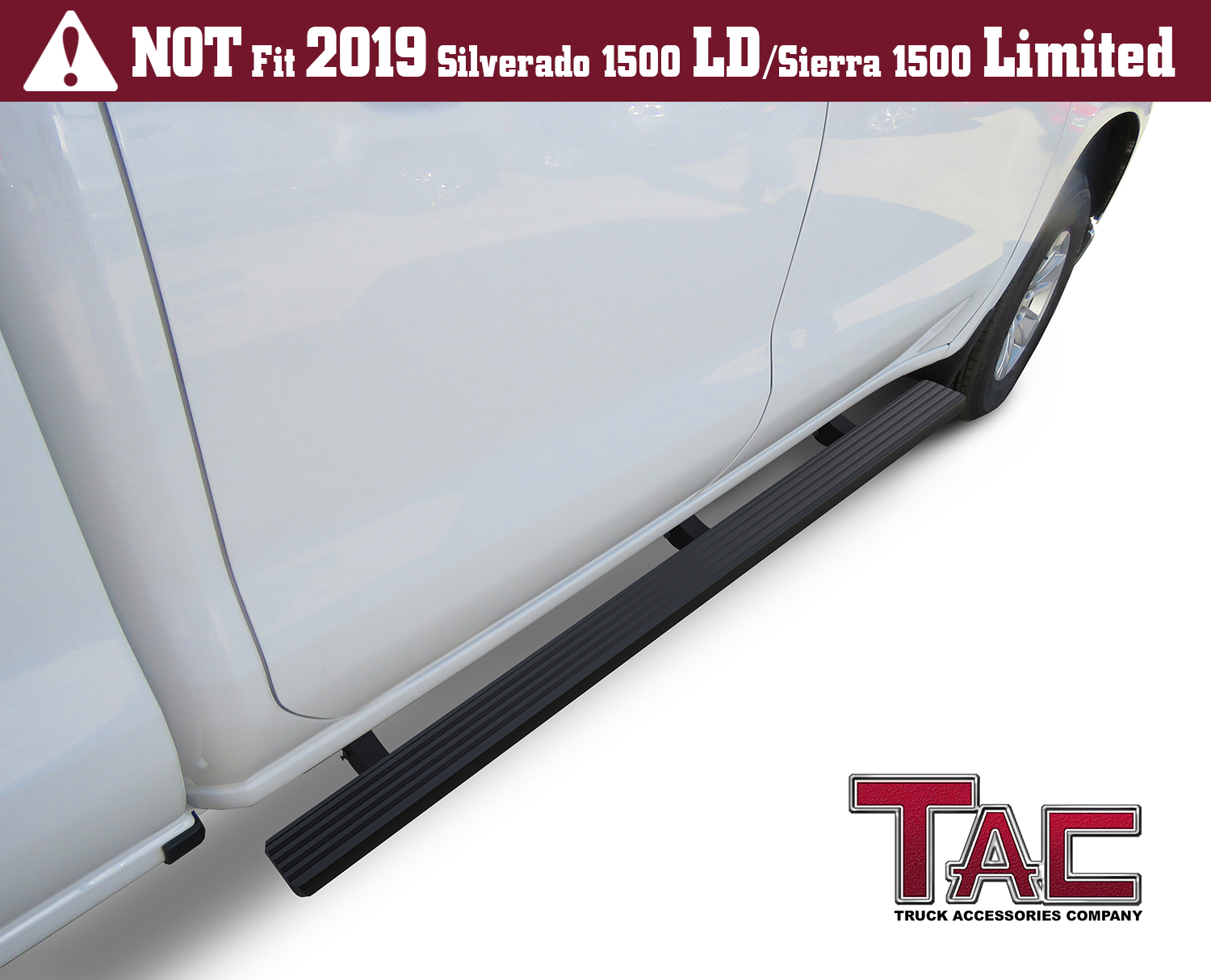 TAC Side Steps Running Boards Fit 2019 Chevy Silverado//GMC Sierra 1500 2020 Silverado//Sierra 2500 3500 Crew Cab Truck Pickup 3 Black Side Bars Step Rails Nerf Bars Off Road Accessories 2 pcs
