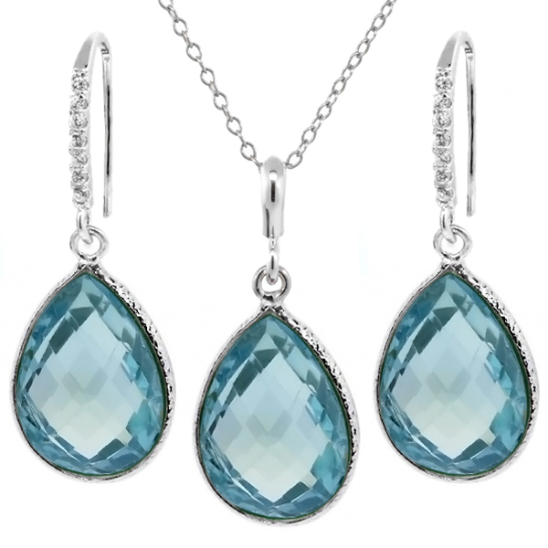 "22.50 Ct Blue Topaz 16x12mm Pear Shape Silver Pendant and Earrings Set 18"" Chain by"