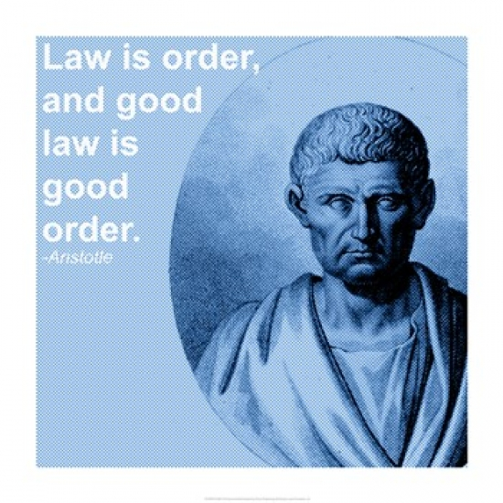 Aristotle Law Quote Poster Print (14 x 14)