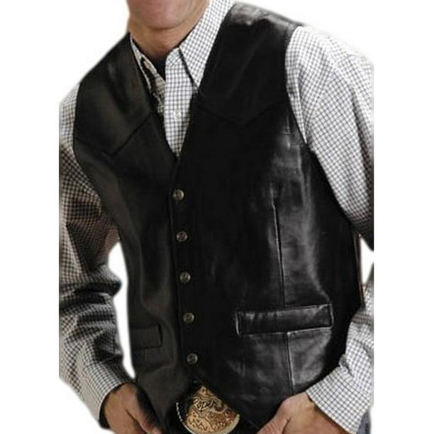 Silver black mens western vest forexie
